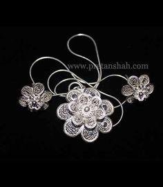 Silver-Filigree-Earrings-Pendant-Set-big-with-Chain-Orissa, India