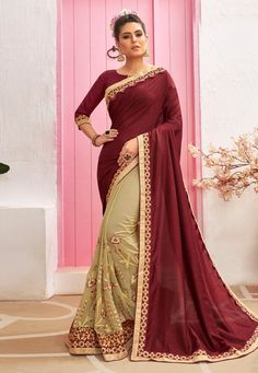 Buy Maroon Chanderi Silk Half N Half Saree 212070 with blouse online at lowest price from vast collection of sarees at Indianclothstore.com. Party Wear Sarees Online, Online Shopping Sarees, Chanderi Silk Saree, Art Silk Sarees, Stone Work Blouse, Saree Models, Half Saree, Designer Sarees Online, Work Sarees