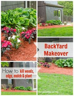 How to kill weeds, edge, mulch plant: A flower bed makeover before and after by Four Generations One Roof - Flower Beds and Gardens Garden Yard Ideas, Lawn And Garden, Garden Projects, Backyard Ideas, Backyard Projects, Porch Ideas, Diy Projects, Layout, Backyard Makeover