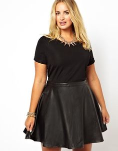 Alice & You Jersey Dress With Leather Look Skater Skirt via ASOS