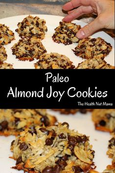 Paleo Almond Joy Cookies – The Health Nut Mama - Desserts Egg Free Desserts, Egg Free Recipes, Easter Desserts, Sweet Desserts, Paleo Recipes For Kids, Gluten Free Cookie Recipes, Gf Recipes, Dairy Free Cookies, Paleo Cookies