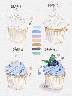 Watercolor Cupcake Tutorial