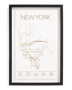 16x24+NYC+Subway+Lines+Framed+Print