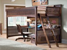 Full Size Loft Bed With Desk Wood