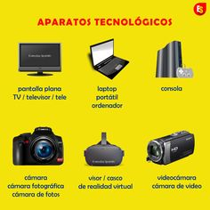 How to - Names of technical appliances in Spanish like flat screen, console, laptop, camera, videocamera, VR headset.