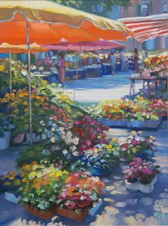 HOWARD BEHRENS STILL LIFE OIL ON CANVAS OF STREET Howard Behrens (AMERICAN, 1933) oil painting on canvas depicting a street scene with flowers. Signed to lower left.