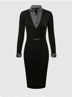 #AdoreWe #FashionMia Bodycon Dresses - FashionMia Plain Polka Dot Small Lapel Bodycon-dress - AdoreWe.com