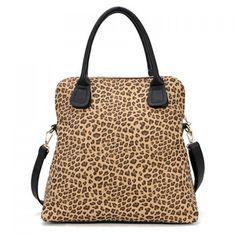 Wholesale Office Women's Shoulder Bag With Leopard Print and Double-Handle Design (LEOPARD), Shoulder Bags - Rosewholesale.com