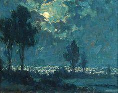 Granville Redmond (1871-1935). Monterey Moonlight.  Oil on Canvas. 8 x 10 in (20 x 25 cm)