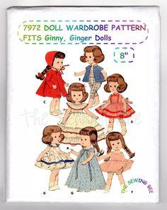 "7972 Doll Pattern Wardrobe - Fits Ginny, Ginger, Muffie, Wendy Riley Dolls~ size 8"", 4-3/4"" Chest. Fits Ginny - Muffie - Ginger - Wendy - Riley. and other dolls with a 4-3/4"" chest. OLD DOLL PATTERNS.   eBay!"