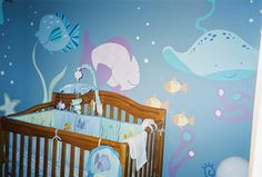 Under the sea painted baby's room