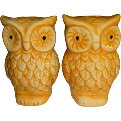 Tan Colored Owl Salt and Pepper Shakers
