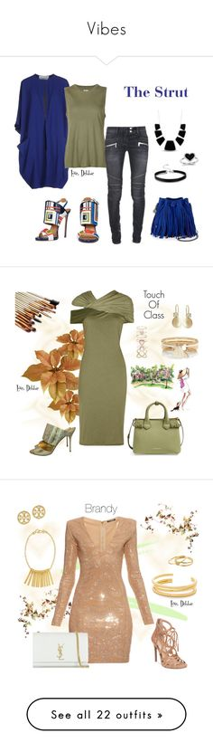 """""""Vibes"""" by debbie-michailides ❤ liked on Polyvore featuring Gianluca Capannolo, Dsquared2, 321, Karen Kane, Kevin Jewelers, STELLA McCARTNEY, Balmain, Givenchy, Manolo Blahnik and Burberry"""