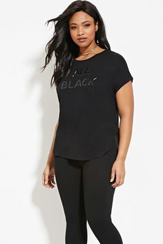 All Black Graphic Tee - FOREVER 21