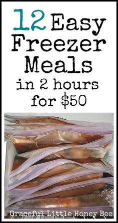 Learn how to make 12 easy & frugal freezer meals in 2 hrs for $50! Recipes are included. Yay for freezer cooking!