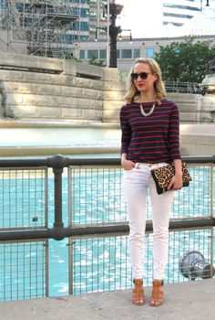 white denim, navy striped nautical tee, leopard foldover clutch, block heel sandals