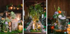 Magical forest inspired reception decor with hurricane lanterns, candles and beautiful centerpieces.  It was amazing seeing this vision come to life! @boonehall @duvallevents Photographed by Charleston wedding photographer - RIVERLAND STUDIOS.