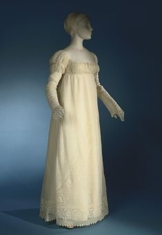 Philadelphia Museum of Art - Collections Object : Woman's Dress c. 1805  Medium: Cotton plain weave with cotton embroidery in padded satin and buttonhole stitches and drawn fabric work