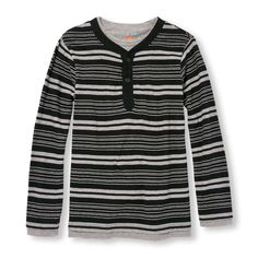 Boys Long Sleeve Striped Faux-Layered Henley