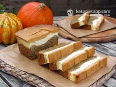 Low Carb Pumpkin & Orange Cheese Bread - Pumpkin bread and Cheesecake! - this recipe is a combination of both and it's absolutely delicious! The base is soft and moist, while the cheese topping melts in your mouth. - 5.6g net carbs per serving / The KetoDiet App Blog