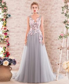 Elegant lace appliqued gray tulle prom dress, long evening gown #prom #dress #promdress #promdresses