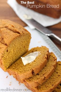 Pumpkin Bread delicious quick bread that can be whipped up in minutes. Subtle Cinnamon flavor compliments the pumpkin puree in this delicious bread ~ http://reallifedinner.com