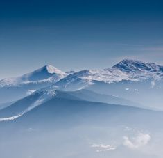 Scenic view of the winter mountains stock photo