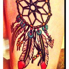 New Thigh tattoo. #dreamcatcher tattoo