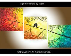 """Sunset in Forest"" by QIQIGallery 36""x12"" Original Painting, $185.00"