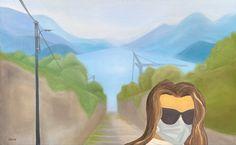 Self portrait on lake Como, by Diana Dzene. Oil on canvas, 50cm x 80cm, made in January 2021. #oiloncanvas #art #artwork #selfportrait #lakecomo #lagodicomo #arte #pittura #art2021 #oilpainting #covidart #dianadzene #paintinginquarantine #artinlockdown #italy #sunnyday #maskon #footstepsofalps #lovepainting #january2021 Oil On Canvas, Canvas Art, Original Paintings, Original Art, Lake Painting, Modern Pop Art, Italian Art, Lake Como, Buy Art