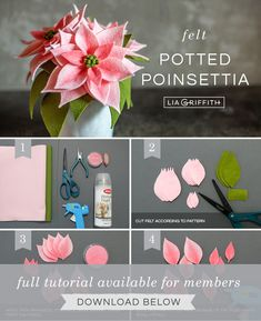 Potted Pink Felt Poinsettia Plants We're having some fun with poinsettias (and felt) again! Learn how to make your own pink felt poinsettia plants and pot them with our pattern and tutorial. Faux Flowers, Diy Flowers, Fabric Flowers, Paper Flowers, Felt Flowers Patterns, Felt Patterns, Craft Patterns, Felt Crafts Diy, Felt Diy