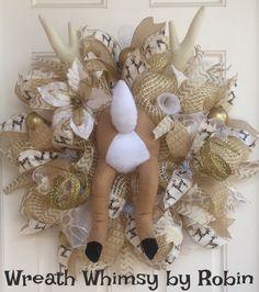 Deco malla Reno Booty guirnalda en crema y por WreathWhimsybyRobin