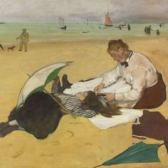 Edgar Degas - Beach Scene, 1869/70 - In treatment the painting is distinct from the 'open-air' beach scenes of the artist's contemporaries, Monet and Boudin. It is almost certain that the central group of a young girl and maid, which you can see here, was posed in the studio. - The National Gallery, London
