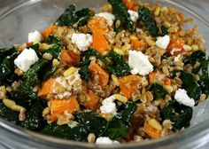 Farro Salad with Sweet Potato, Kale and Goat Cheese