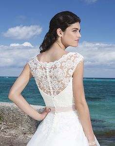 COMING SOON!!!  Sincerity by Justin Alexander 3777 available at Bucci's Bridal in Pewaukee, WI   www.buccisbridal.com #weddingdress #bridalgown #marriedinmilwaukee #wibride #pewaukee #bridalshop #justinalexander #sincerity #lace #vneck #capsleeves #ballgown #illusionback