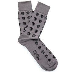 Alexander McQueen   black intarsia-knitted skull-print and logo detail   socks