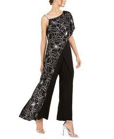 & Park One-Shoulder Overlay Jumpsuit, Created For Macy's - Black/Silver Black Print, Women's Leggings, New Outfits, One Shoulder, Shoulder Strap, Pants For Women, Chiffon, Jumpsuit, Stylish