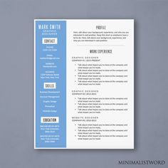 Minimal Resume Template  Microsoft Word Doc Instant Download