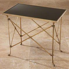 Global Views Rectangular Directoire Table Brass & Black Granite