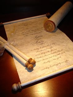 Scroll wedding invitation by Natural Impression Design