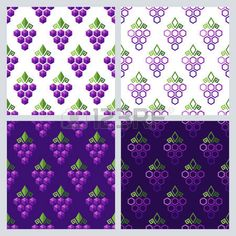 vine background: Set of vector seamless pattern with grapes. Flat background with grape. Geometric shape grapes vine made from hexagons. Concept for winery, wine menu. Alcohol drinks and food technology. Illustration