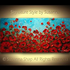 ORIGINAL Abstract Art Blue Red Poppies Painting by ModernHouseArt, $375.00