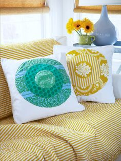 sew different sized circles cut from different fabrics onto plain pillow for a cute throw pillow