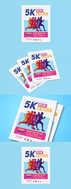 Marathon Flyer Template AI, PSD - A4