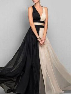 Deep V Neck Color-block Maxi Dress