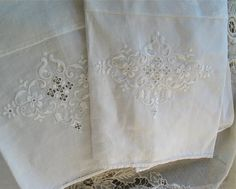 White Linen Handtowels Jacquard and Vintage Fabrics with Embroidery OOAK/Repurposed Set of Two