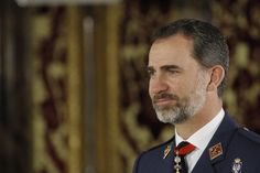 King Felipe is ready for the military audience at the Royal Palace.
