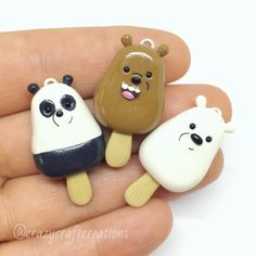 Anyone familiar with these three??? This is Grizzly, Panda and ice bear from We Bare Bears in ice pop form. I made these for @legends.of.the.phoenix. We are currently looking to add some new members so if your interested in joining an awesome collab check out our audition post. . #polymerclay