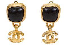 Chanel Gold & Gripois Drop Earrings