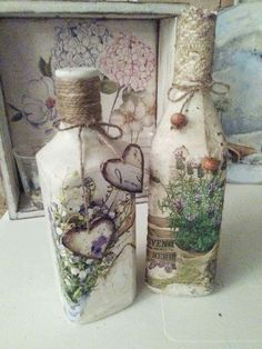 beautiful decoupage altered bottles